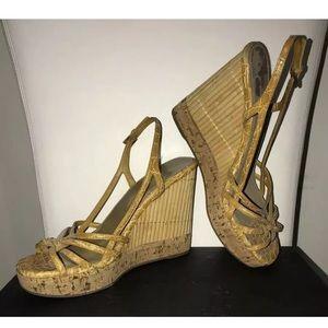PRADA Women's Yellow Leather Cork Wedge Sandals 37